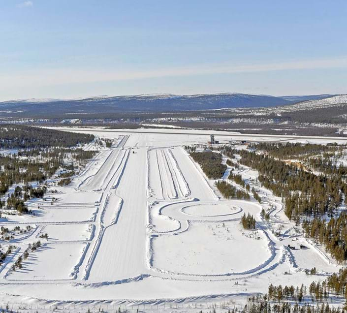 Aerial view of Airport winter proving ground at Test World, Ivalo, Finland