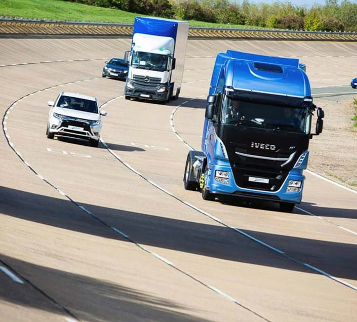 Vehicles on the High Speed Circuit bowl at Millbrook Proving Ground during Cenex-LCV event