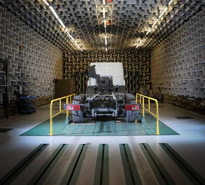 Vehicle NVH testing in a semi-anechoic chamber at Millbrook