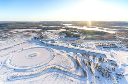 Test World, Ivalo, Finland, - view of winter test tracks and proving ground from the air