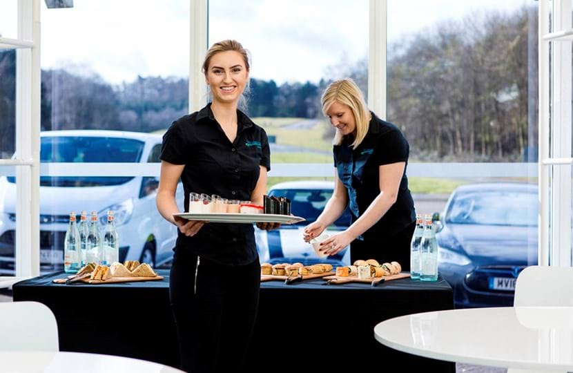 Catering team at Millbrook's Cubo corporate track day event venue