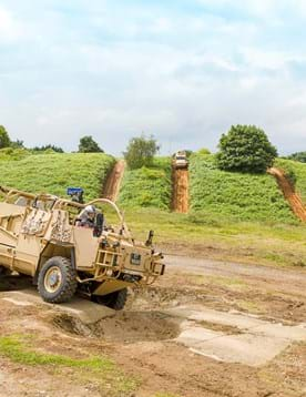 Defence and military vehicle testing on the off-road test tracks at Millbrook Proving Ground