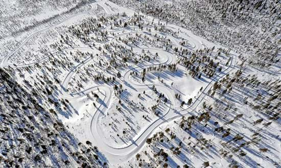 Aerial view of Mellatracks winter proving ground at Test World, Ivalo, Finland