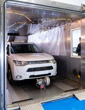 Car in a SHED vehicle emission test facility performing a diurnal emissions test at Millbrook Proving Ground