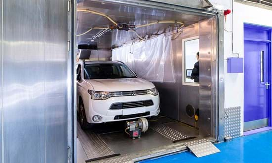 Car in a SHED emission test facility performing a diurnal emissions test at Millbrook Proving Ground