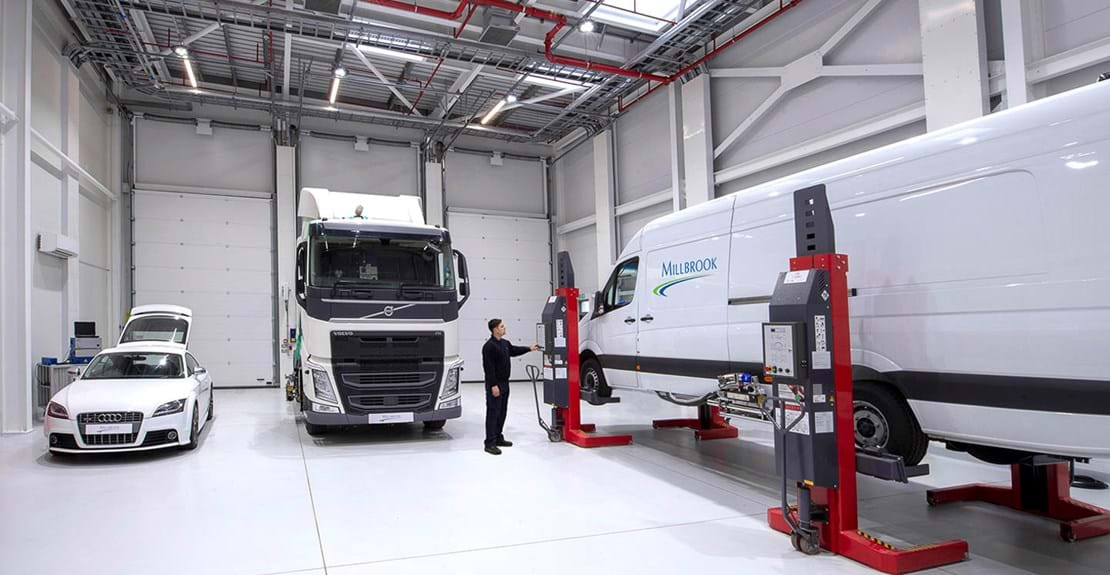 Real Driving Emissions (RDE) test facility at Millbrook with car, truck and van fitted with PEMS equipment