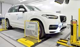 Vehicle in an emissions testing facility with 4WD chassis dynamometer at Millbrook Proving Ground