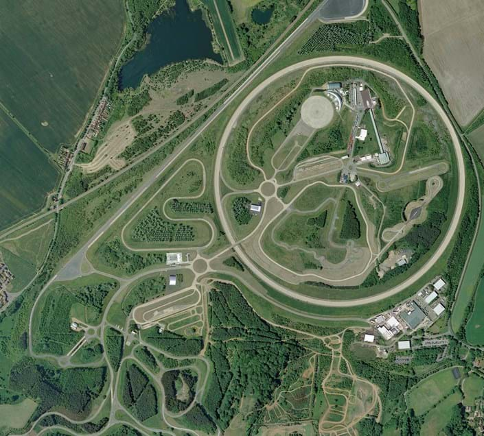 Aerial of Millbrook Proving Ground test track in the UK