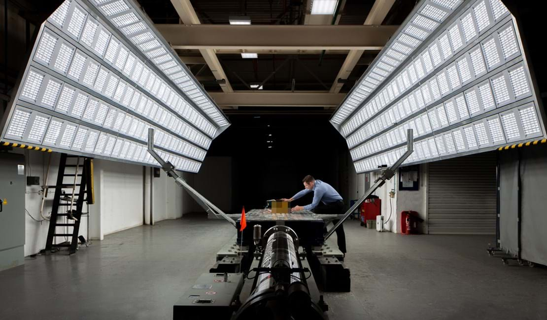 FIA ADR testing being conducted by Millbrook chief engineer in sled test facility