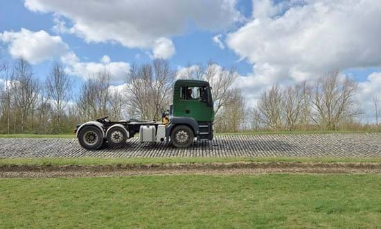 Vehicle durability test procedure with truck on the Belgian Pave at Millbrook Proving Ground