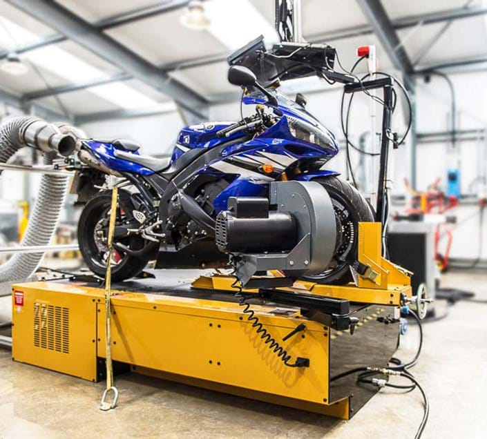 Motorcycle dynamometer testing at Millbrook Proving Ground
