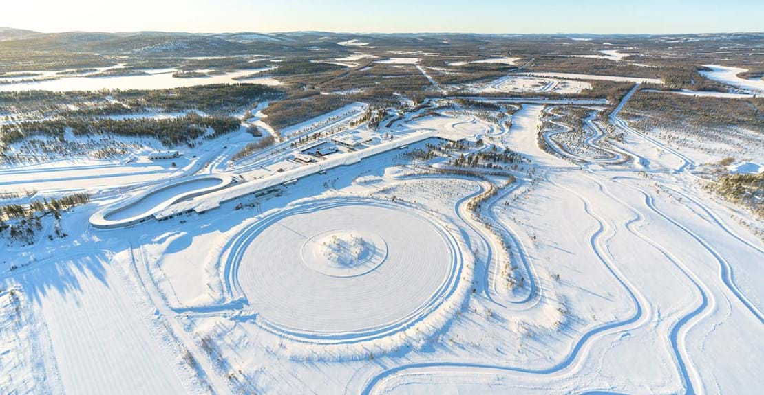 Aerial view of Test World proving ground and winter tyre test facility