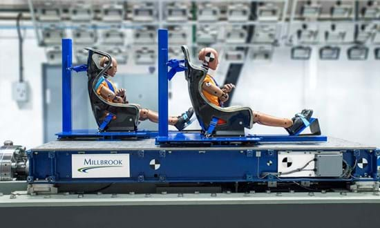 FIA crash test for racing seat homologation on Millbrook's sled test facility for seats