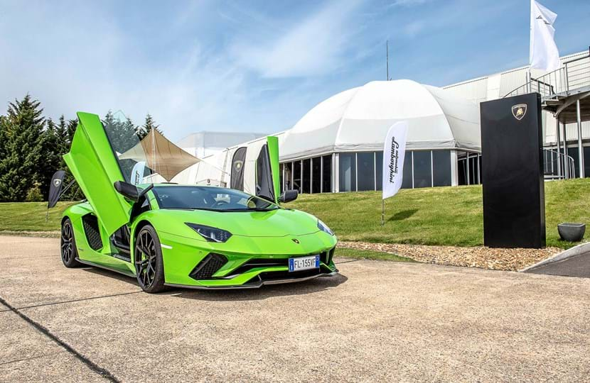 Driving event Lamborghini outside Concept 1 corporate venue at Millbrook Proving Ground