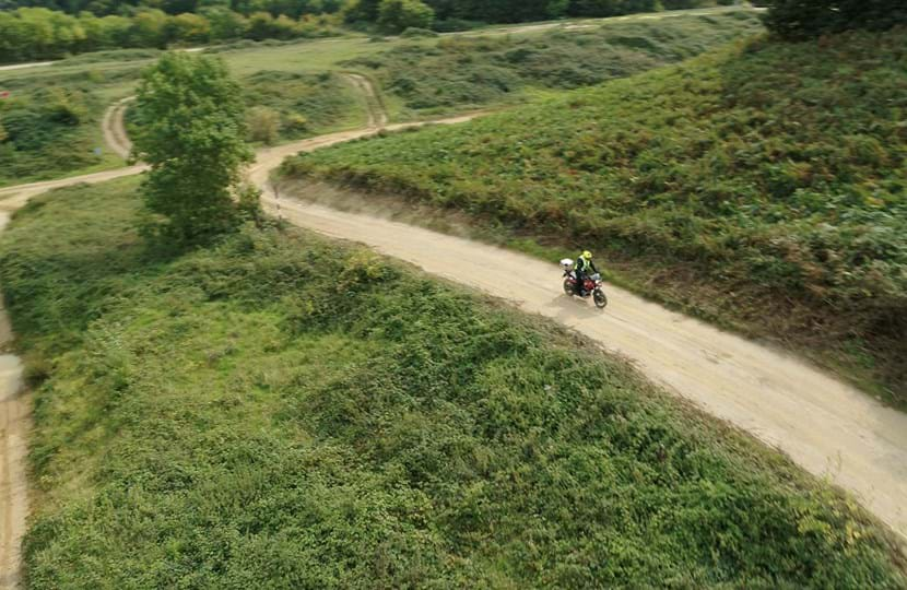 Motorcyle being tested on Millbrook's off-road test tracks