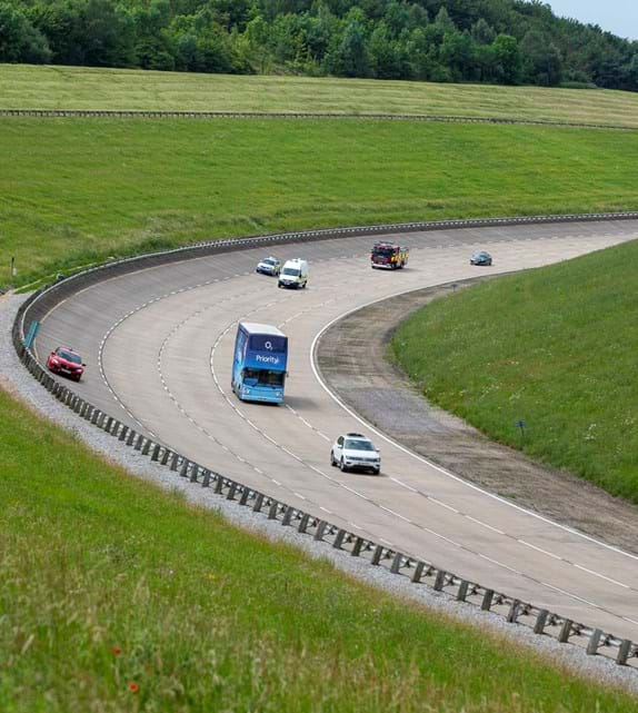 5G test bed at Millbrook Proving Ground with self-drving car and vehicle testing on the High Speed Circuit