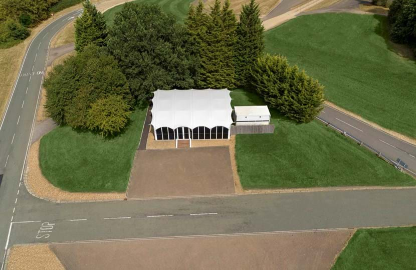 Aerial shot of Cubo - Millbrook's corporate track day event venue