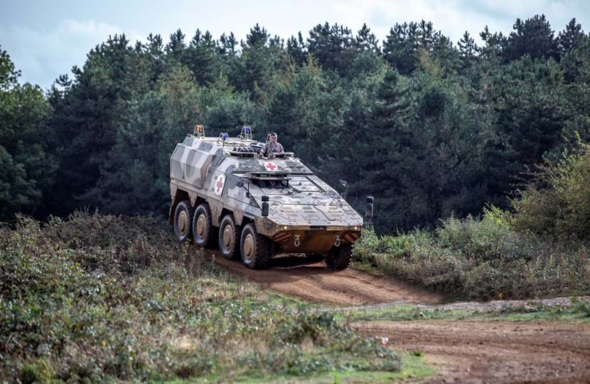 Defence vehicle testing on the off-road test tracks at DVD at Millbrook Proving Ground