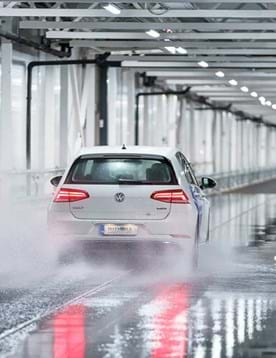 Wet brake testing at indoor winter tyre test facility in Finland - Test World