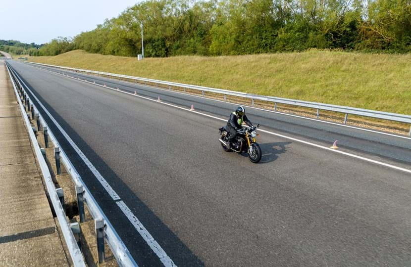 Motorcycle brake and acceleration testing on Millbrook's Mile Straight test track