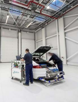 Car being prepared for an RDE test by PEMS emissions test engineers