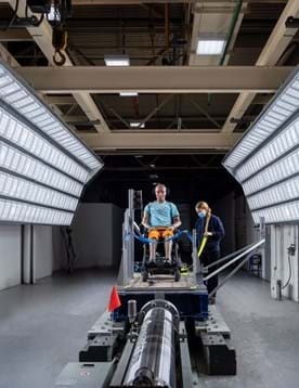 Wheelchair safety testing in Millbrook sled test facility