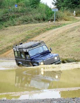 Off-road driving filming location with wading pond at Millbrook Proving Ground