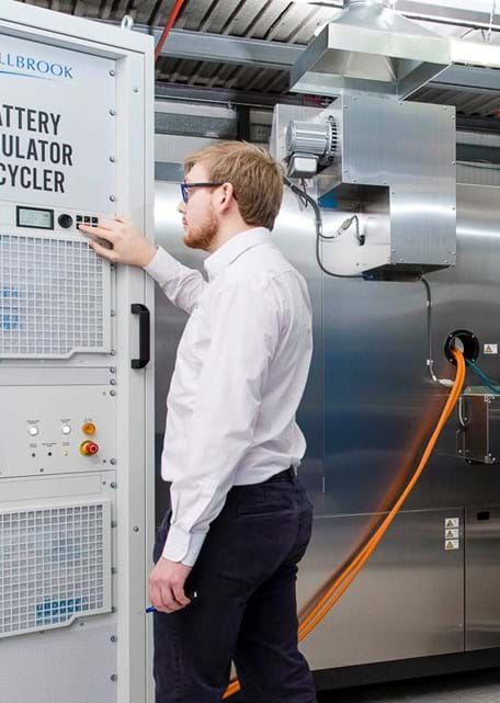 Electric vehicle (EV) battery endurance testing laboratory for battery simulation and life cycling at Millbrook