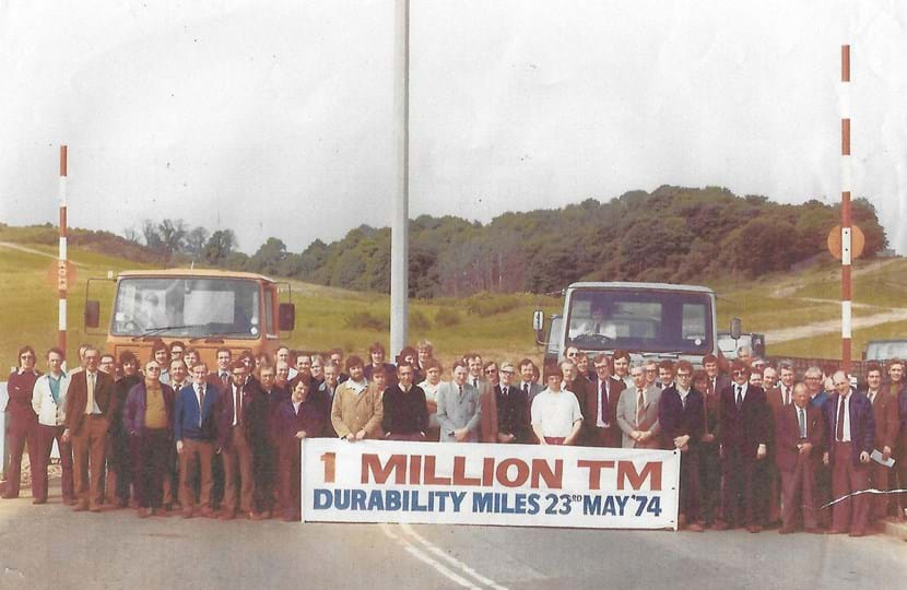 Millbrook employees celebrating hitting 1 million durability miles in 1973