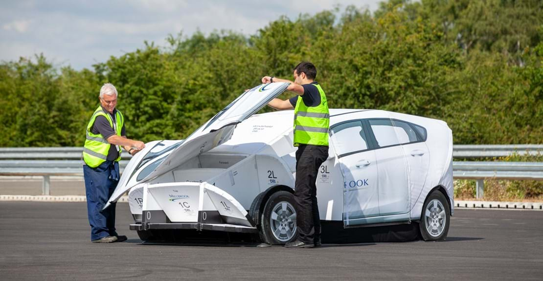 Engineers assembling target for Advanced Driver Assistance Systems (ADAS) testing at Millbrook Proving Ground